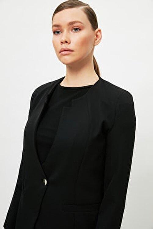 Trendyol Modest Siyah Ceket Yaka Tesettür Ceket TCTSS21CE0424 2