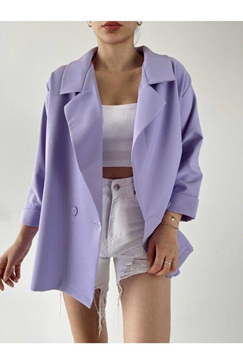 madame chere Kadın Lila Oversize Blazer Ceket 1