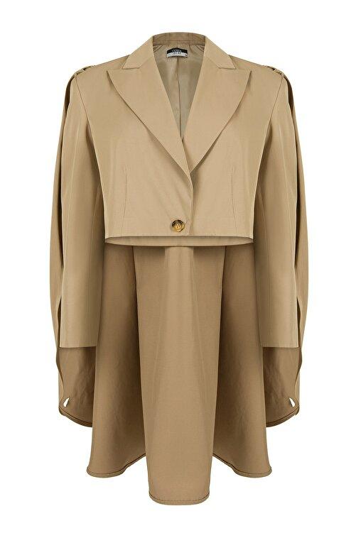 CEREN OCAK Kadın Bej Pelerinli Ceket 2
