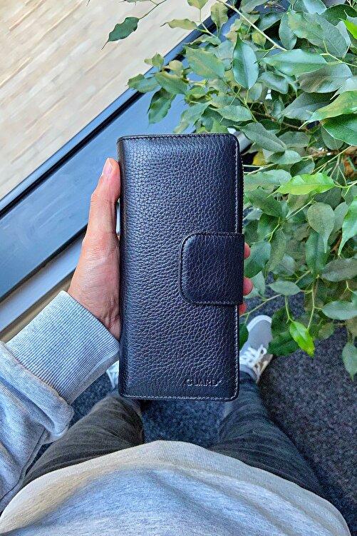 GUARD Hakiki Deri Cüzdan - Telefon Bölmeli Xl / Siyah Sterlin 2