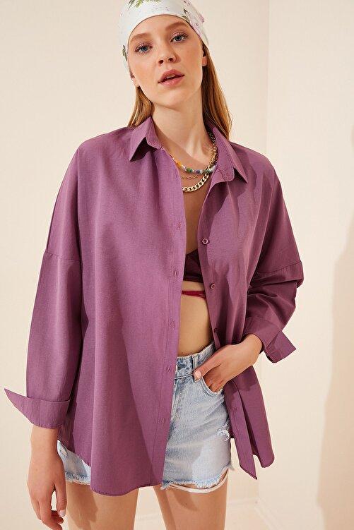 Happiness İst. Kadın Koyu Lila Oversize Uzun Basic Gömlek DD00842 1