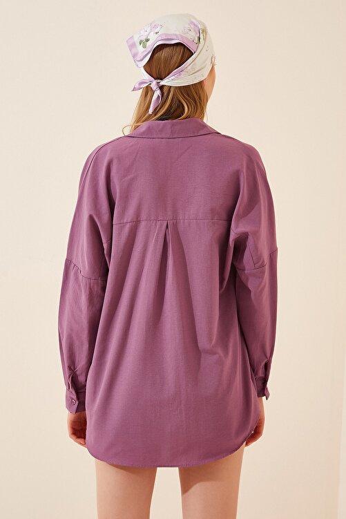 Happiness İst. Kadın Koyu Lila Oversize Uzun Basic Gömlek DD00842 2
