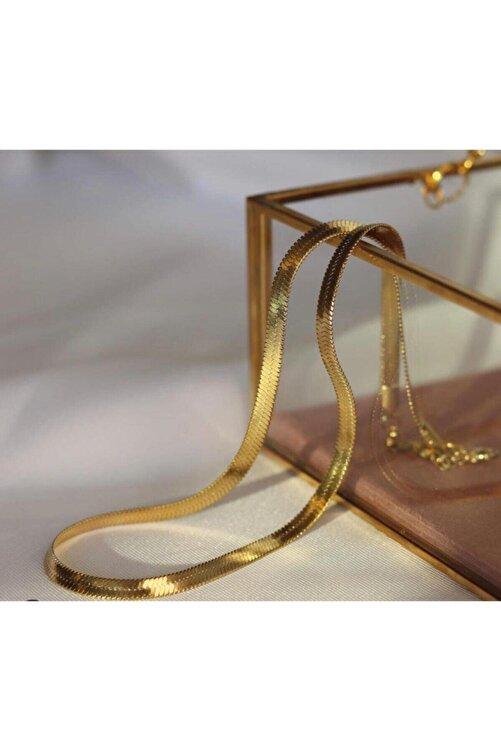 JADENNE OFFİCİAL Italyan Yassı Ezme Zincir Vintage Gold Kısa Kombin Kolyesi Altın Kaplama Garanti Belgeli 1