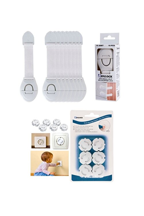BOXLOCK Çocuk Bebek Güvenlik Emniyet Seti - 10 Adet Beyaz Dolap Kilidi + 12 Adet Priz Koruyucu 1