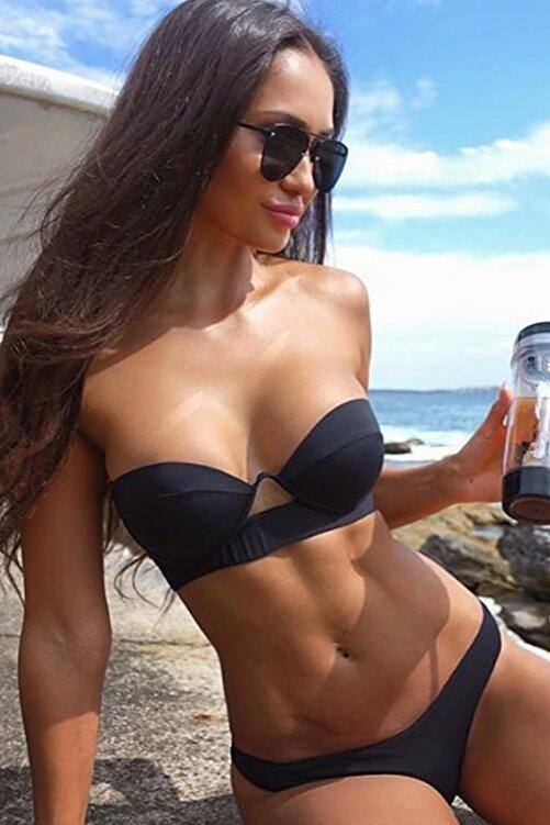 Angelsin Kadın Siyah Straplez Bikini Takım 2
