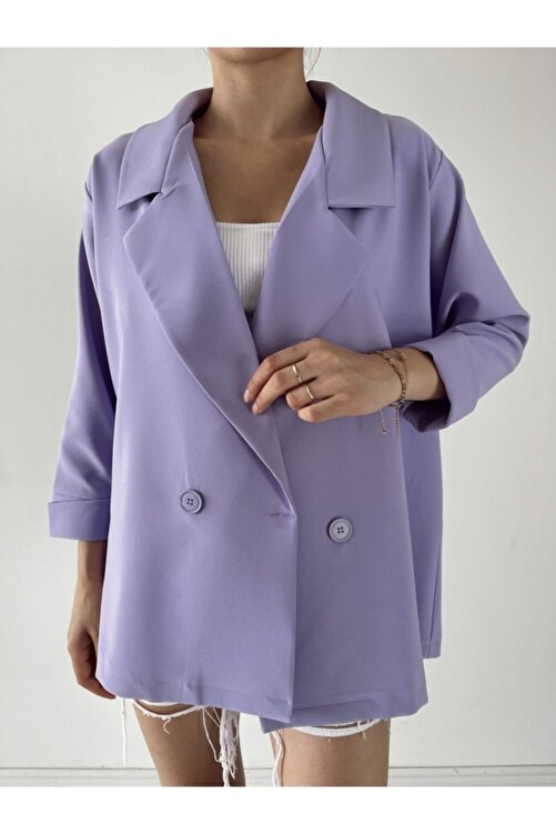 madame chere Kadın Lila Oversize Blazer Ceket 2