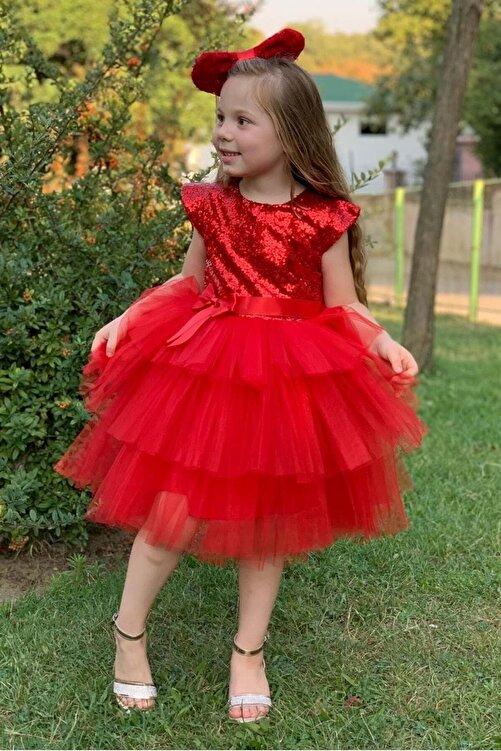 Pumpido Kız Çocuk Kırmızı Renk Pul Payetli 5 Yaş  Abiye 1