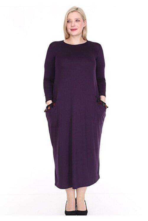 Şirin Butik Kadın Cepleri Püsküllü Uzun Kollu Viskon Mürdüm Elbise 1