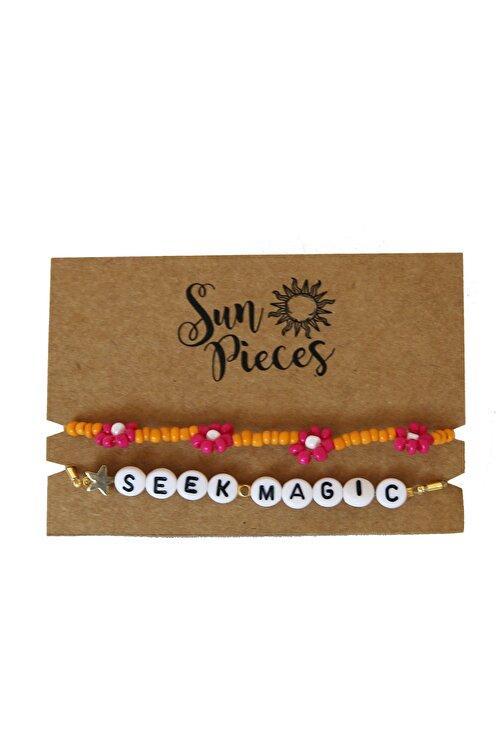 Sun Pieces Seek Magic Renkli Yazılı Bileklik Seti 1