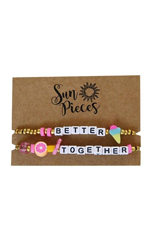 Sun Pieces Better Together Altın Renkli Yazılı Bileklik Seti 1