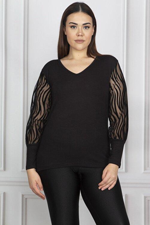 Şans Kadın Büyük Beden Siyah Kolu Flok Tül Bluz 65N17976 2