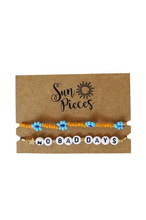Sun Pieces No Bad Days Renkli Yazılı Bileklik Seti 2