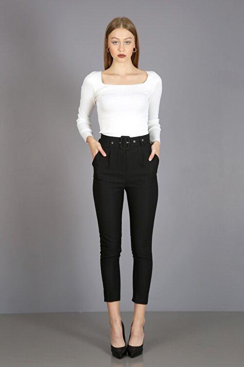 ChiChero Kadın Siyah Pilesiz Kalın Kemerli Kumaş Pantolon 1