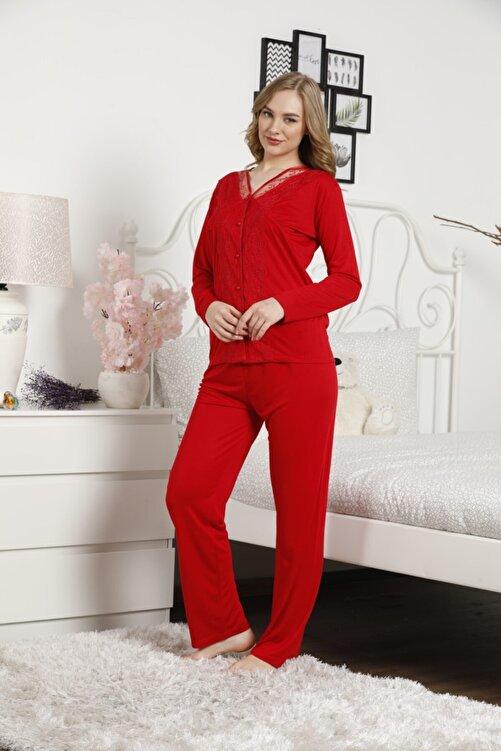BIES Kadın Kırmızı Alimer Dantel Güpürlü Uzun Kol Yakasız Önden Düğme Pijama Takımı 2