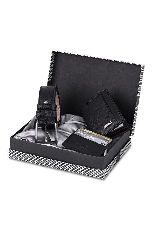 Polo Air Erkek Siyah Dama Desenli Kutulu Cüzdan Kemer Kartlık Seti - Sete-3013-s 1
