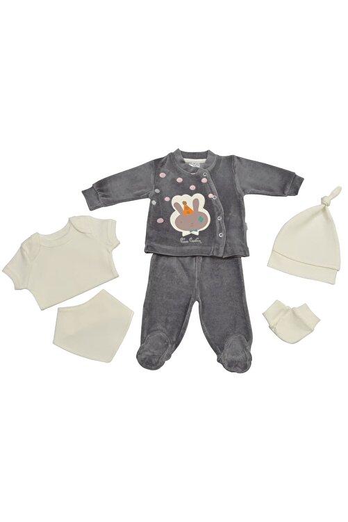 Pierre Cardin Baby Pierre Cardin Kadife Yenidoğan Takımlı Bebek Seti Füme 1
