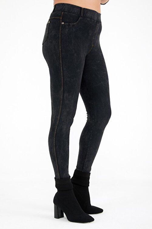Siyezen Büyük Beden Füme Jean Görünümlü Tayt Pantolon 1