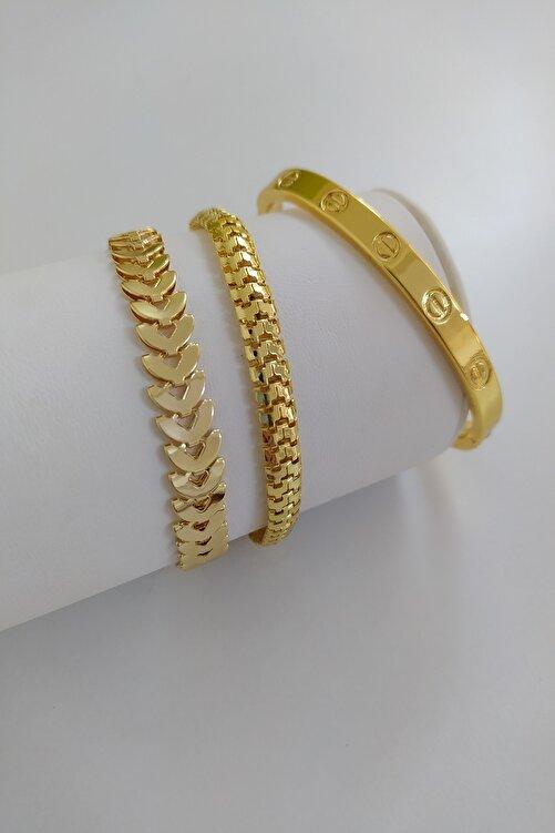 KOBA Kadın Gold Renk Kararmaz Çelik Kombin Bileklik 1