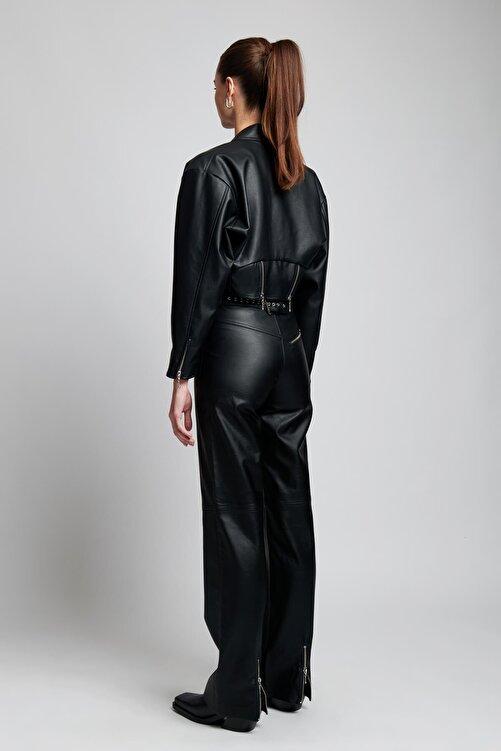 IAMNOTBASIC Kadın Siyah Deri Lauren Pantolon 2