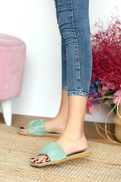 Pembe Potin Kadın Haki Sandalet 2