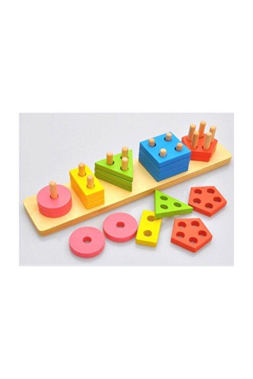 Wooden Toys Ahşap 5'li Geometri Geçirme 1