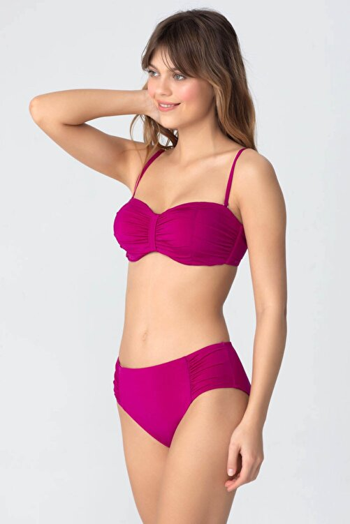 Kom Kadın Pembe Üstü Straplez Altı Hafif Yüksek Bel Bikini Takım 2
