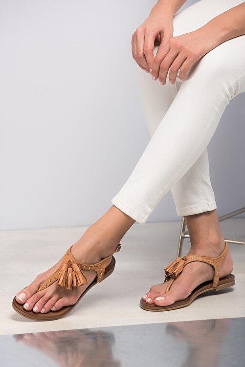 İnci Hakiki Deri Taba Kadın Sandalet 120120453010 1