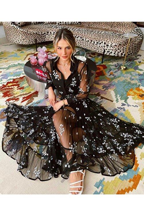 JANES Kadın Siyah Ithal Flok Kumaş Astarlı Elbise 2