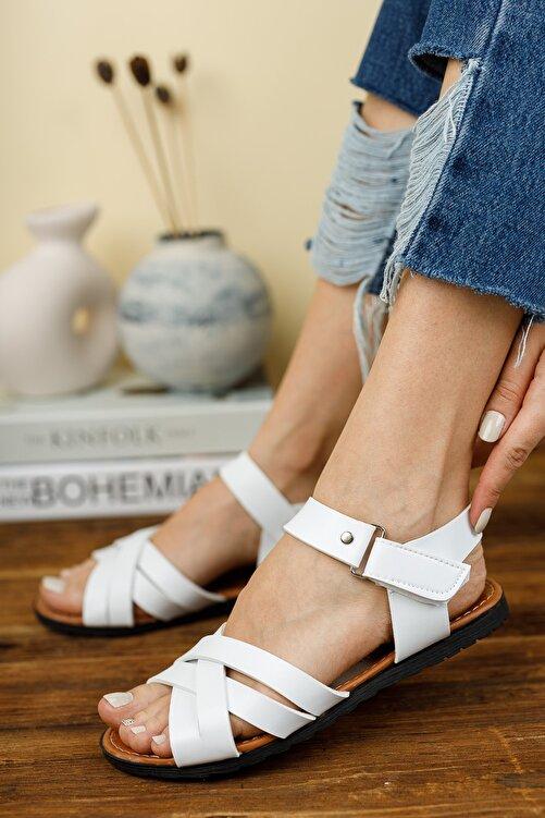 Fogs Kadın Beyaz İnce Topuklu Sandalet 1
