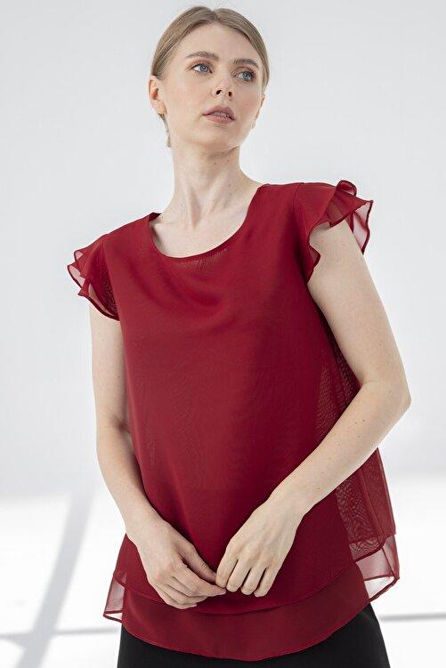 Journey Kadın Bordo Bluz Yaka Kol Volanlı Çift Kat Şifon Bluz 2
