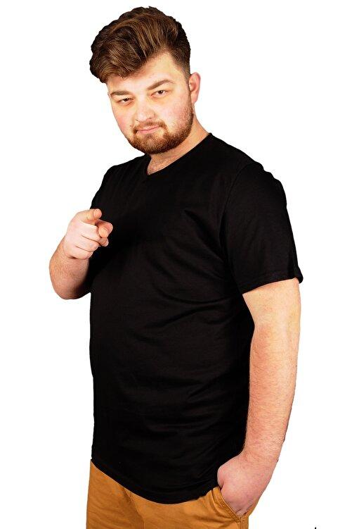ModeXL Büyük Beden Erkek Tshirt V Yaka Basic 20032 Siyah 2