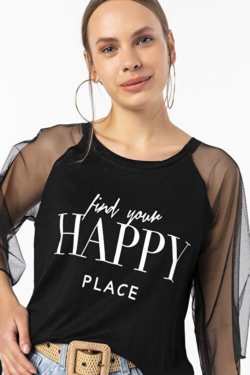 EMJEY Happy Baskılı Kolları Tül Bluz 2