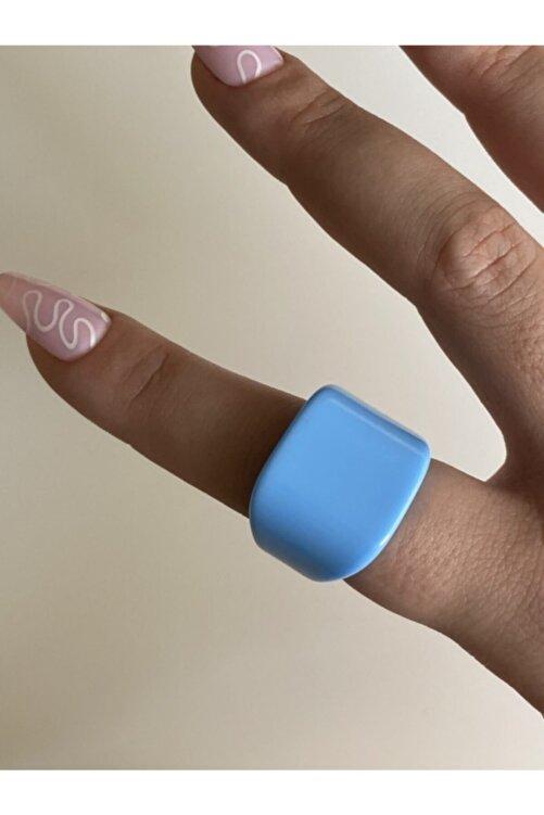 lesseffortless Mavi Yassı Plastik Yüzük 1