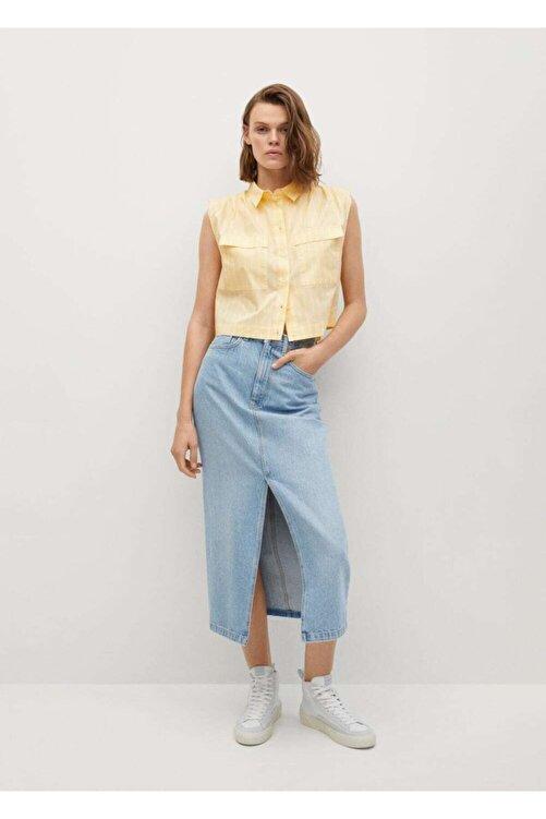 MANGO Woman Kadın Sarı Kısa Koton Gömlek 2