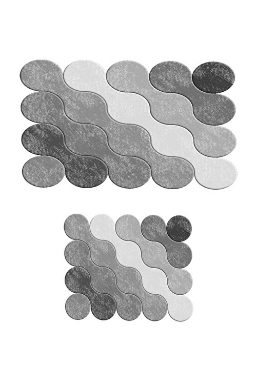 colizon 60x90 - 50x60 Grey Drop Dijital Banyo Paspası Lazer Kesim 2'li Klozet Takımı 2