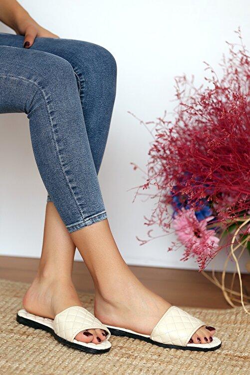 Pembe Potin Kadın Krem Sandalet 1