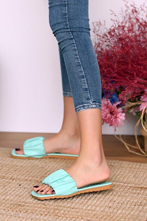 Pembe Potin Kadın Su Yeşili Sandalet 2