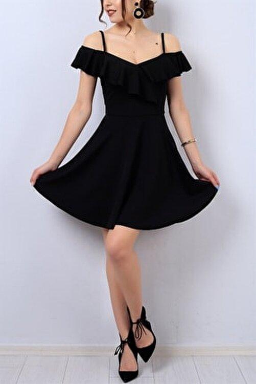 Md1 Collection Kadın Esnek Krep Kumaş Yakası Volan Detaylı Ince Askılı Kiloş Siyah Abiye Elbise Gece Elbisesi 077 1