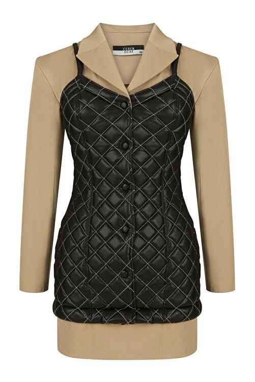 CEREN OCAK Kadın Siyah Kapitoneli Ceket Elbise 1
