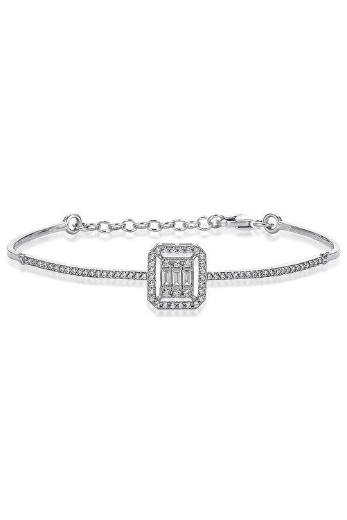 Valori Jewels 0.30 ct Zirkon Baget Taşlı Gümüş Bileklik 1