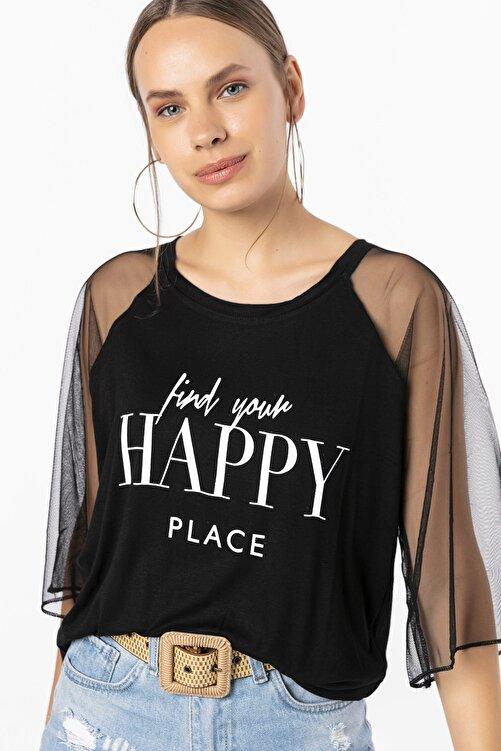 EMJEY Happy Baskılı Kolları Tül Bluz 1