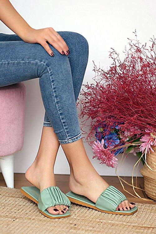 Pembe Potin Kadın Haki Sandalet 1