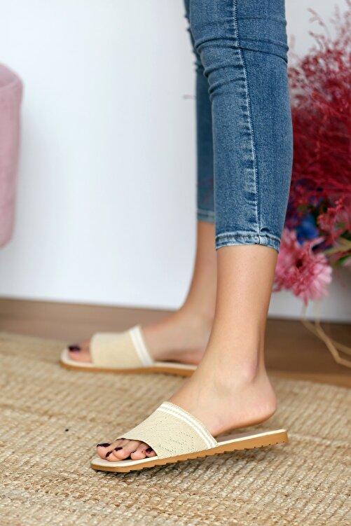 Pembe Potin Kadın Bej Sandalet 2