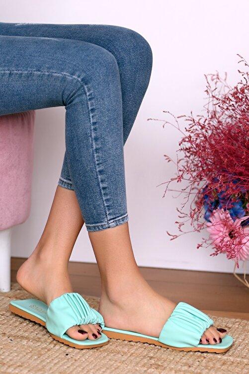 Pembe Potin Kadın Su Yeşili Sandalet 1