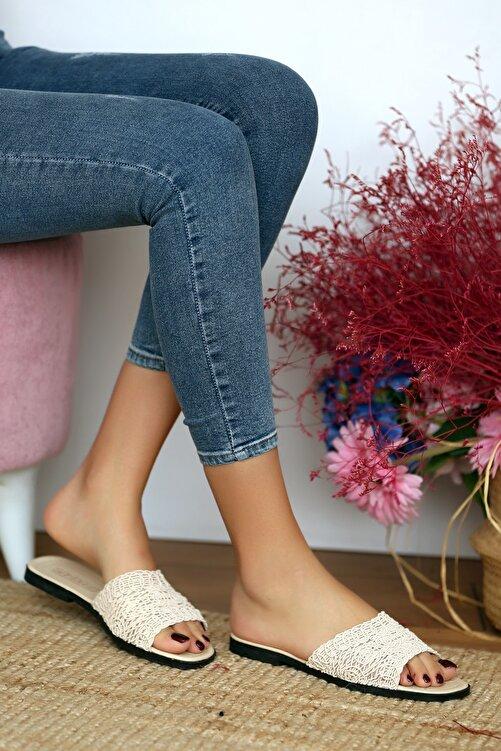 Pembe Potin Kadın Bej Sandalet 1