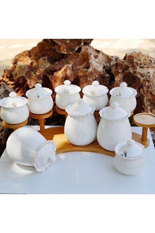 AROW Sefa Çeyiz 9 Parça Kaşıklı Bambu Standlı Porselen Baharat Takımı 2