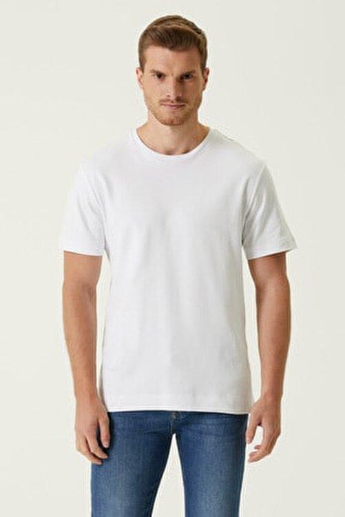 Network Erkek Comfort Fit Beyaz Bisiklet Yaka Basic T-shirt 1078326 1