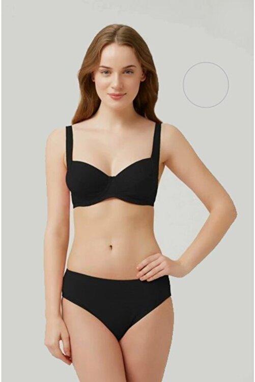 Kom Uzun Ömürlü Kendinden Dokulu Klasik Fabıan Siyah Bikini 1