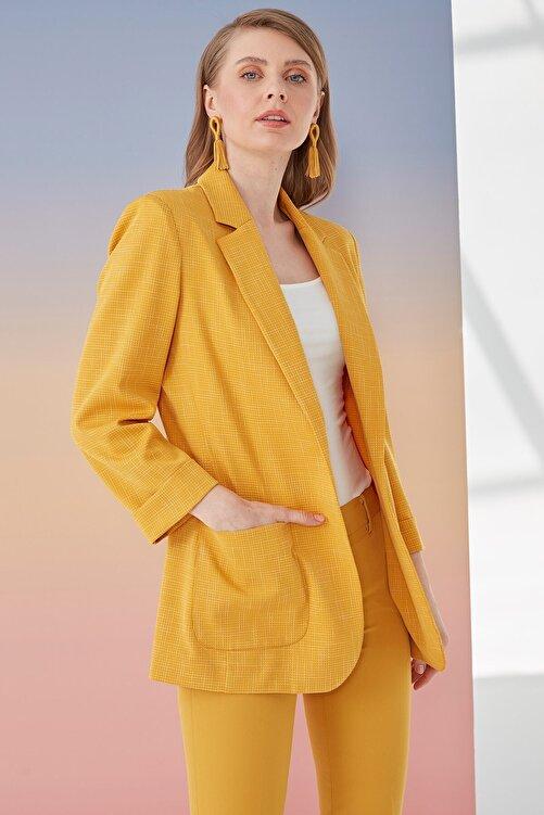 Journey Kadın Koyu Sarı Ceket Klasik Yaka Rahat Kesim Astarsız 2