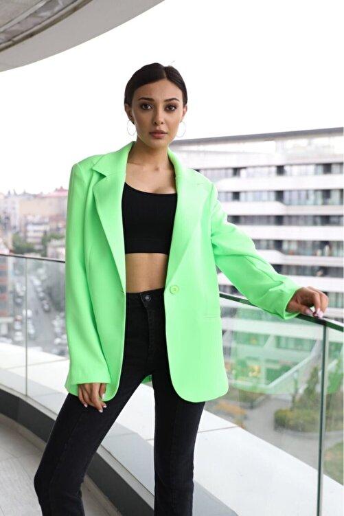 The Ness Collection Neon Yeşil Boyfriend Blazer Ceket 1